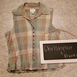 Christopher & Banks Plaid Sleeveless Blouse